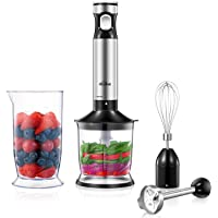 Smart Stepless Immersion Blender, Kealive 4 in 1 Hand blender with All Speed Control Heavy Duty Copper Motor, Includes 304 Stainless Steel Stick Blender, Beaker, Food Processor, Whisk Attachment