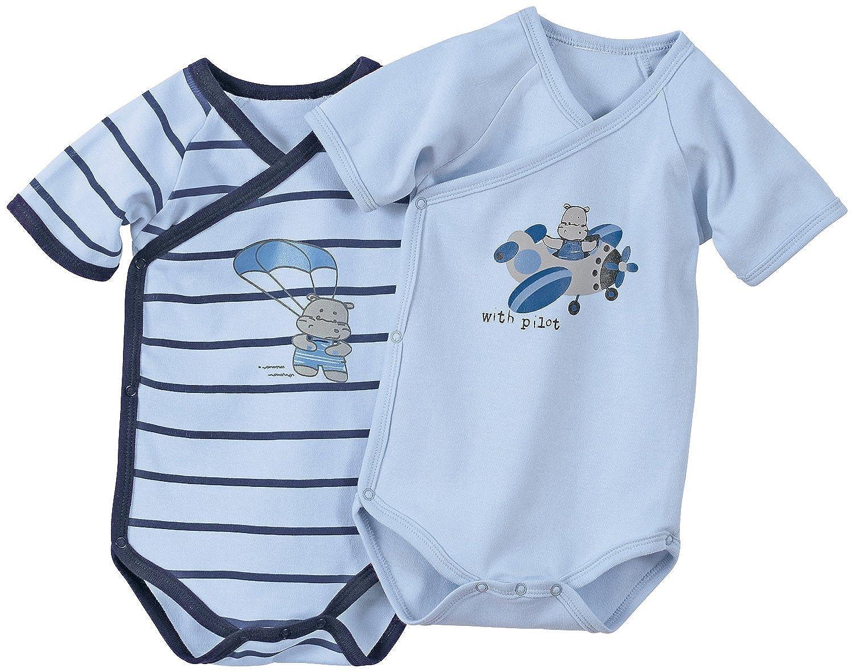 Erwin M/üller Baby-Wickelbody kurzarm 2er-Pack mit Druckmotiv Interlock-Jersey blau Druckkn/öpfe seitlich und im Schritt Gr/ö/ße 50//56-100/% Baumwolle