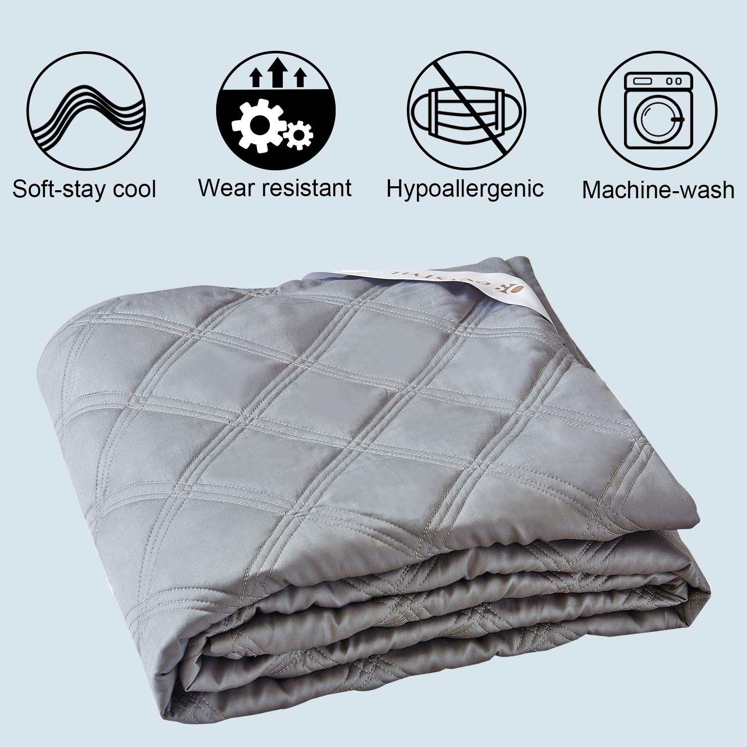 OMYSTYLE Cooling Weighted Blanket Cover 48x72Inches-100/% Tencel Reversible Twin Size Weighted Blanket Duvet Cover with Zipper Closure,8 Ties-Light Grey