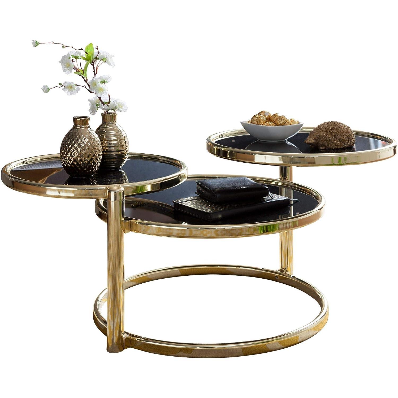 Wohnling Couchtisch SUSI mit 3 Tischplatten Schwarz/Gold 58 x 43 x 58 cm | Beistelltisch Rund | Design Wohnzimmertisch Glas/Metall | Designer Glastisch Sofatisch modern | Kleiner Loungetisch
