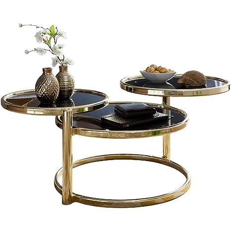 Finebuy Couchtisch Sina Mit 3 Tischplatten Schwarz Gold 58 X 43 X 58 Cm Beistelltisch Rund Design Wohnzimmertisch Glas Metall Designer Glastisch