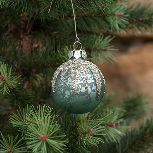 Christmas Tablescape Decor - Glitter snow topped blue mercury glass ball Christmas ornament - Set of 4