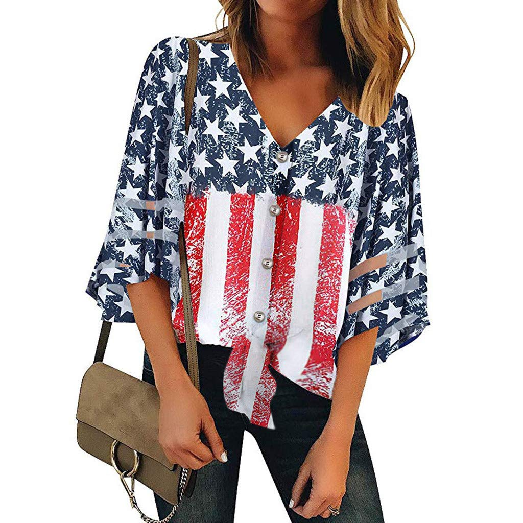 TANLANG Women Independence Day Commemorative Shirt Blouse American Flag Printed Hollow Seven-Sleeve T-Shirt Casual Top