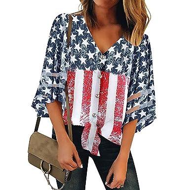 Amazon com: Dunacifa Women Summer Shirts American Flag