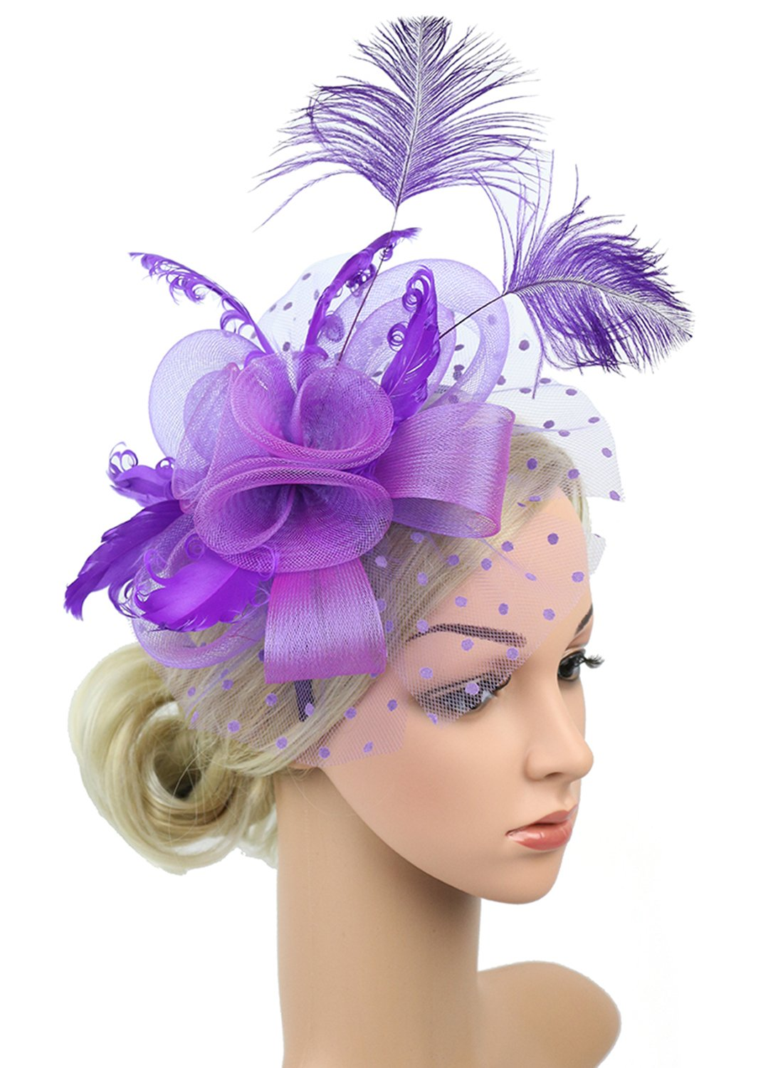 Z&X Fascinator with Headband Clip Cocktail Tea Party Feather Floral Pillbox Hat Black (Fascinator 4- Purple)