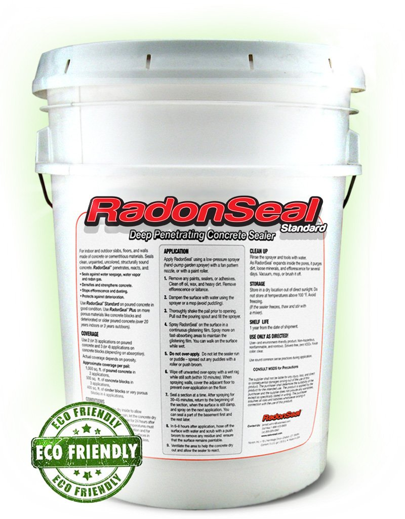RadonSeal® Standard – Deep Penetrating Concrete Sealer (5-gal) | Basement Waterproofing & Radon Mitigation Sealer | Seals Concrete Against Water, Water Vapor, and Radon Gas | Permanent!