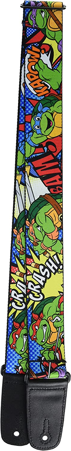 Teenage Mutant Ninja Turtles Ninja Turtles Poses Action Bubbles Dots Blues, 2 Inches Wide Guitar Strap (GS-WNT040)