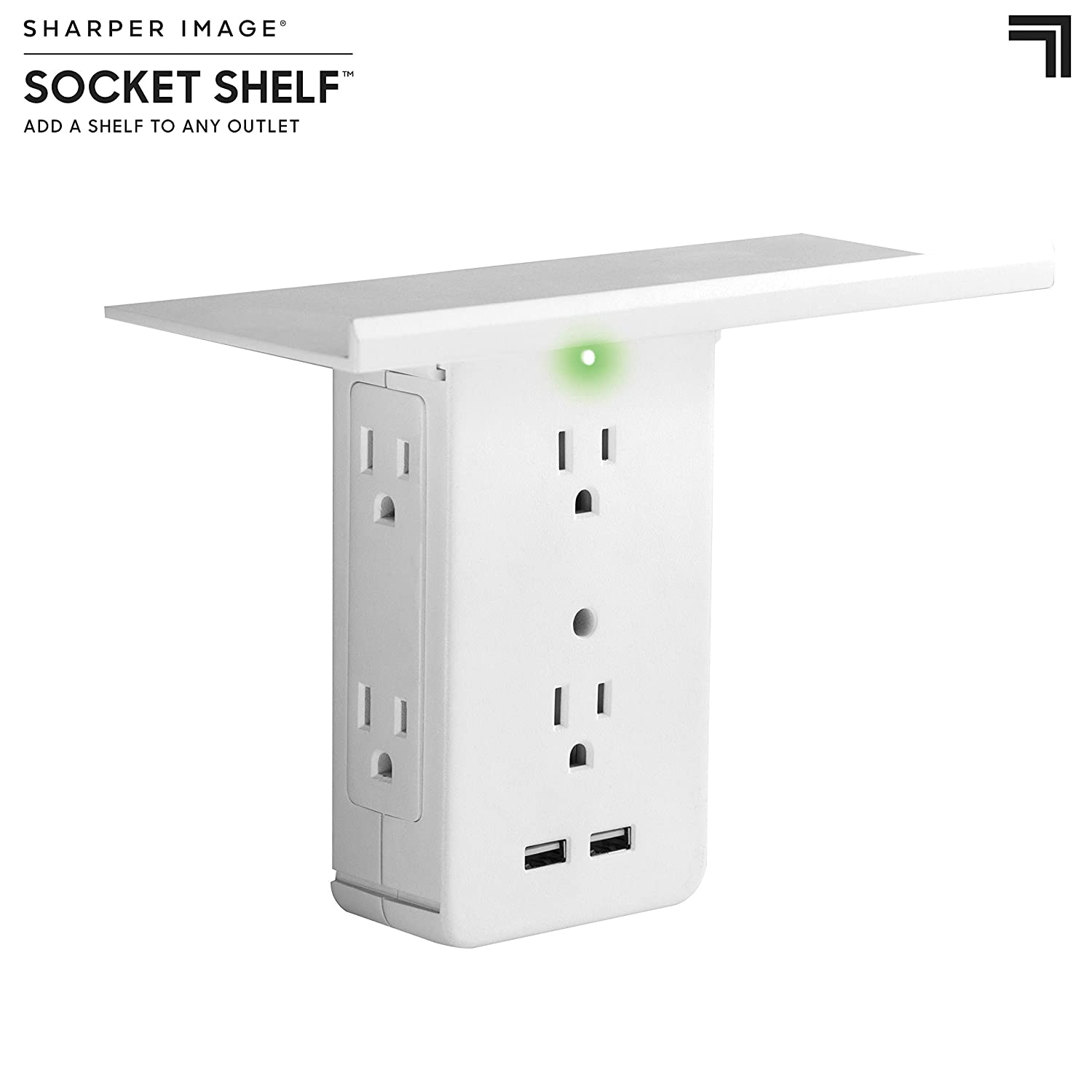 Socket Shelf  8 Port Surge Protector Wall Outlet, 6 Electrical Outlet Extenders, 2 Usb Charging Ports & Removable Built In Shelf Ul Listed by Allstar Innovations