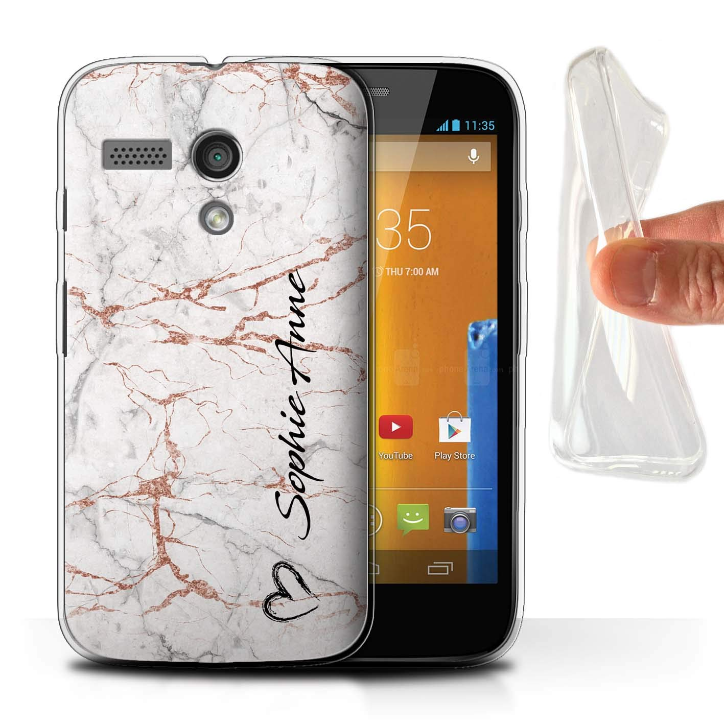 13d618bcea0e6b Amazon.com  Personalized Custom Rose Gold Endless Marble Gel TPU Case for  Motorola Moto G (2013)   Black Brush Heart Signature  Design Initial Name Text DIY ...