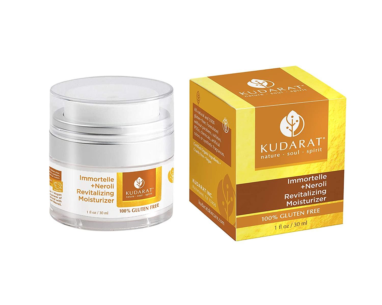 Amazon Com Kudarat Naturally Beautifying Skincare Gluten Free Vegan Immortelle Plus Neroli Revitalizing Moisturizer 1 0 Fl Oz Beauty