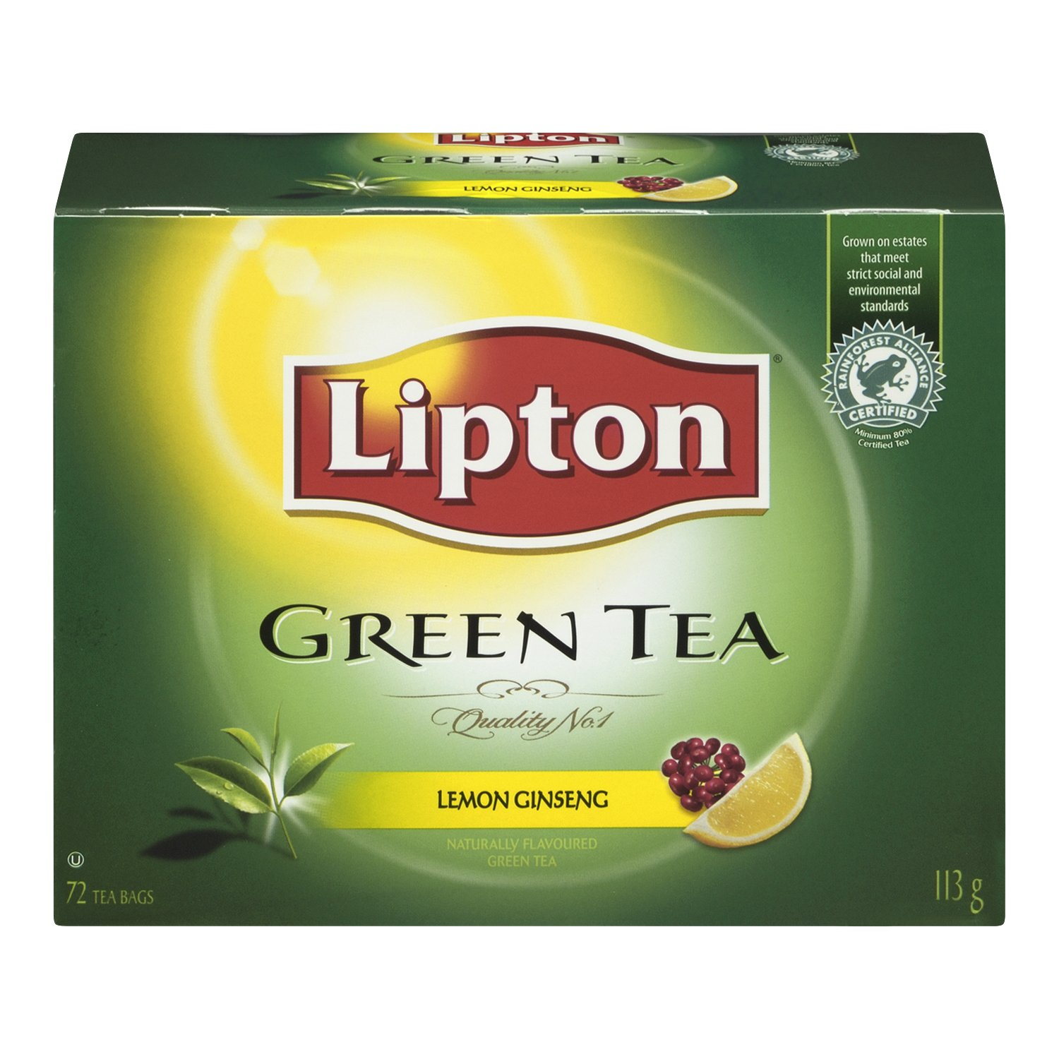 $3.88 (was $6.62) Lipton Green Tea Lemon Ginseng Tea Bags 72 Count