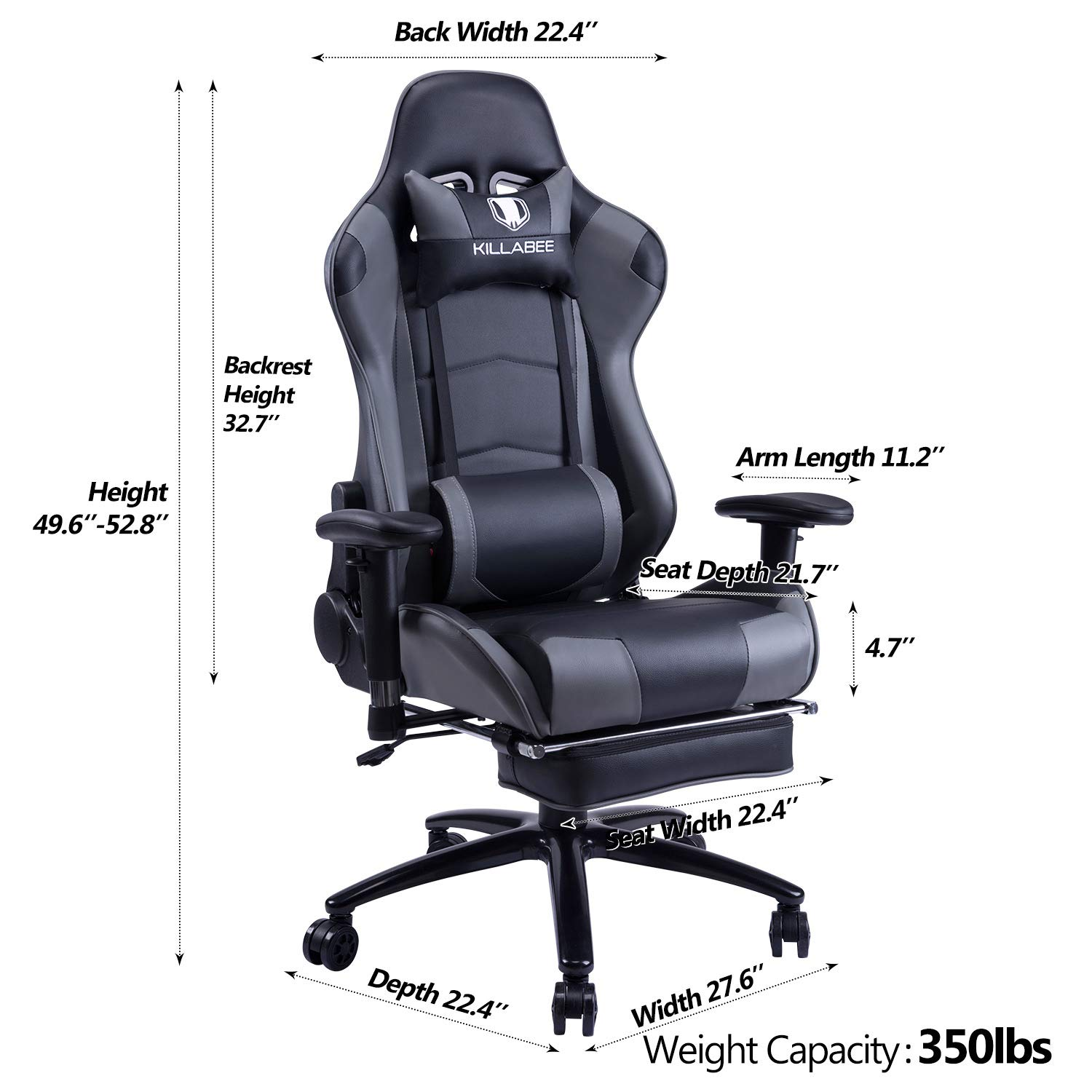 KILLABEE Big and Tall 350lb Massage Gaming Chair Metal Base - Adjustable Massage Lumbar Cushion, Retractable Footrest High Back Ergonomic Leather Racing Computer Desk Executive Office Chair by KILLABEE (Image #5)