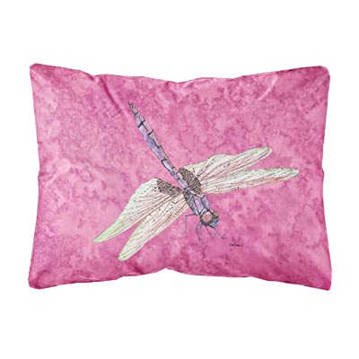 Caroline's Treasures 8891PW1216 Dragonfly on Pink Canvas Fabric Decorative Pillow, 12H x16W, Multicolor : Garden & Outdoor