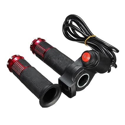 SODIAL 24V 36V 48V 3 Velocidades Scooter Electrico Grip Handlebar LED Medidor Digital, Rojo