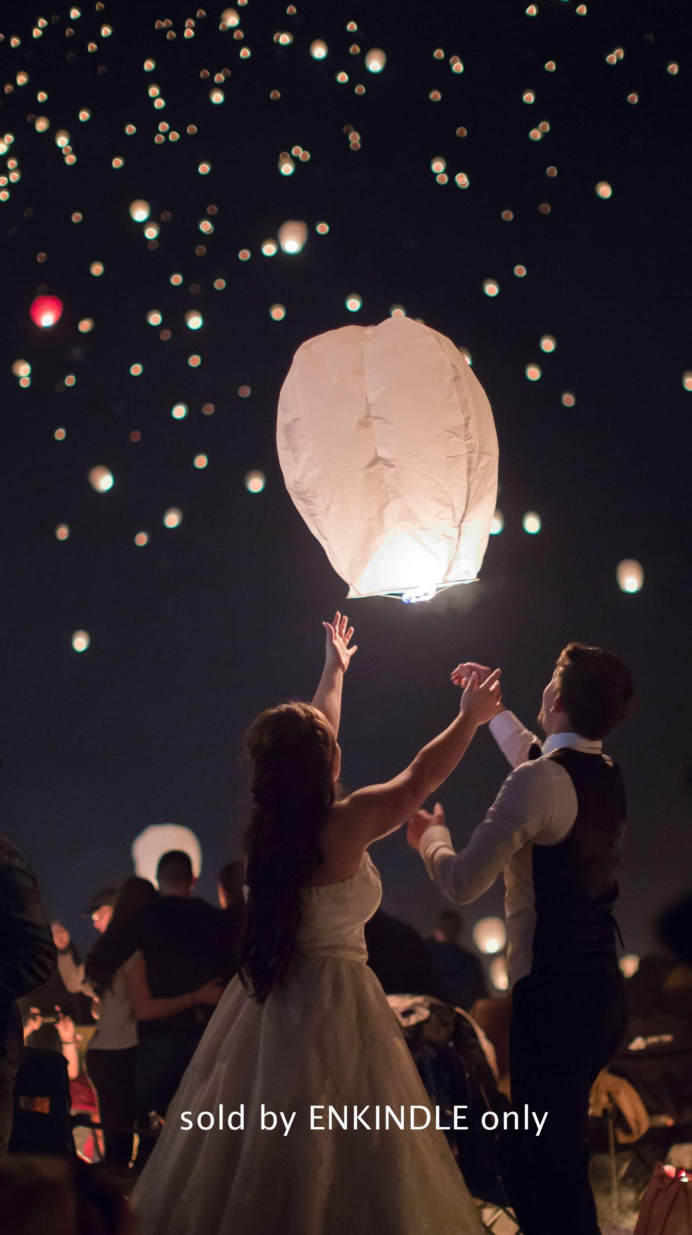 Chinese Paper Flying Sky Lanterns - for Wedding, Christmas, Memorial, Party Wish - Large White Eco Friendly 100% Biodegradable 10 Pack Lantern Set with Small Japanese Wax Paper Easy to Light (Diamond)