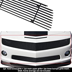 APS Compatible with 2010-2013 Chevy Camaro SS V8 Phantom Style Aluminum Black Horizontal Billet Grille Insert Combo C61030H
