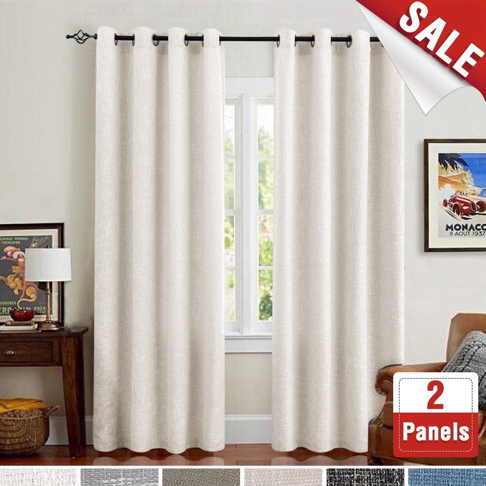 Long Flax Room Darkening Burlap Window Curtains