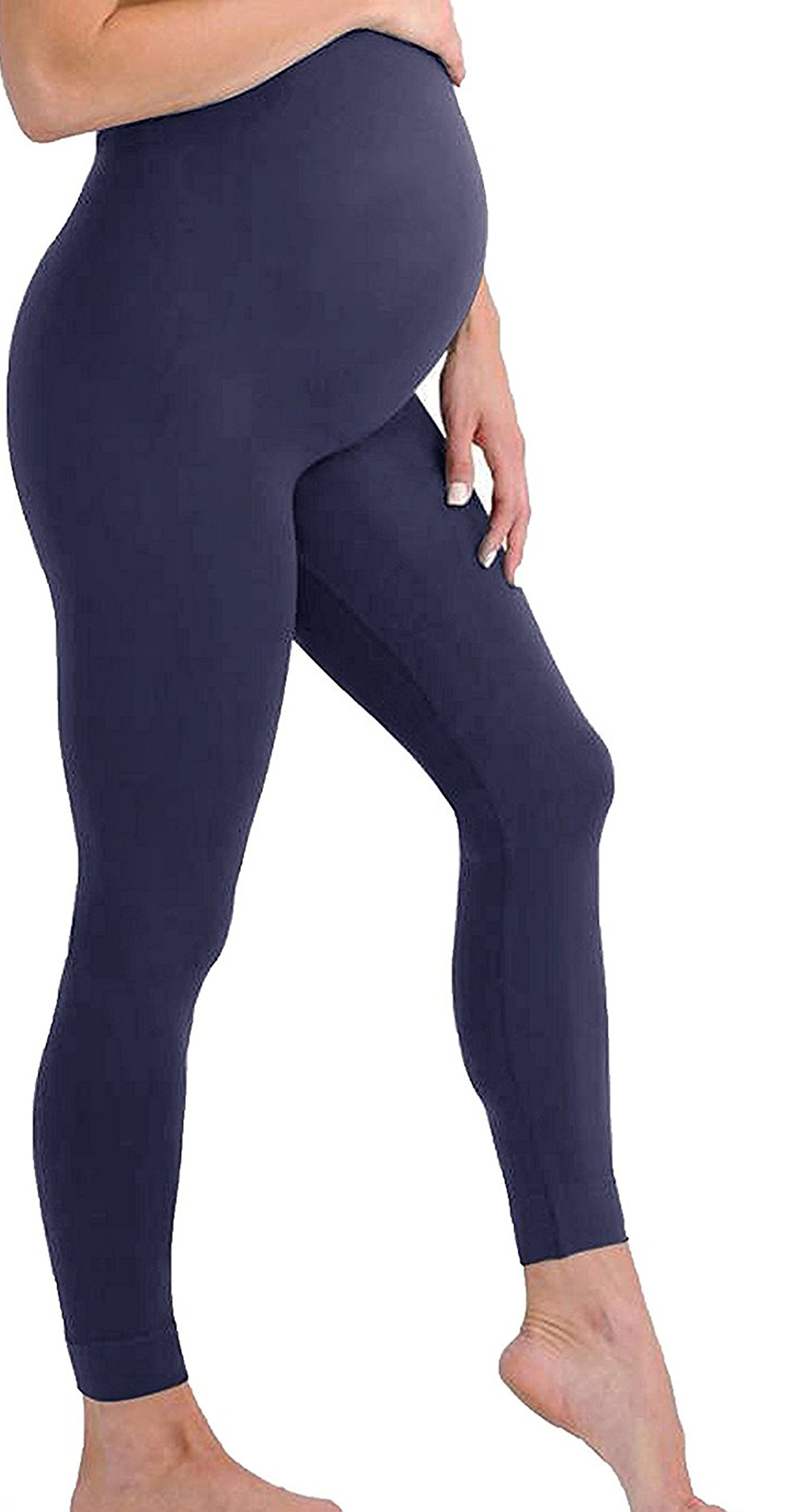 Touch Me Maternity Leggings Black Navy Grey Soft Solid Stretch Seamless Tights One Size Fits All Active Wear Yoga Gym Clothes (Maternity - One Size Fits All, Navy Leggings)