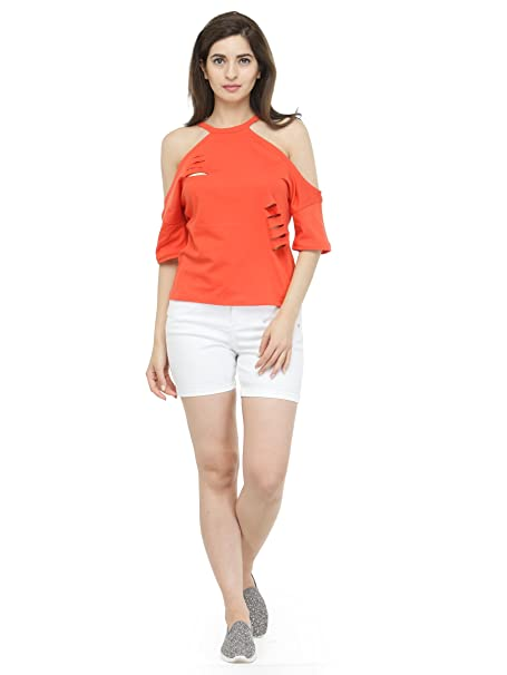 acff9e31270a31 silly people Top for Women - Orange Solid Cold-Shoulder Sleeves Top - Soft  Cotton