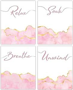 Pink Bathroom Wall Art Decor - Set of 4 Unframed Prints (8x10 Inch) Relax, Soak, Breathe, Unwind