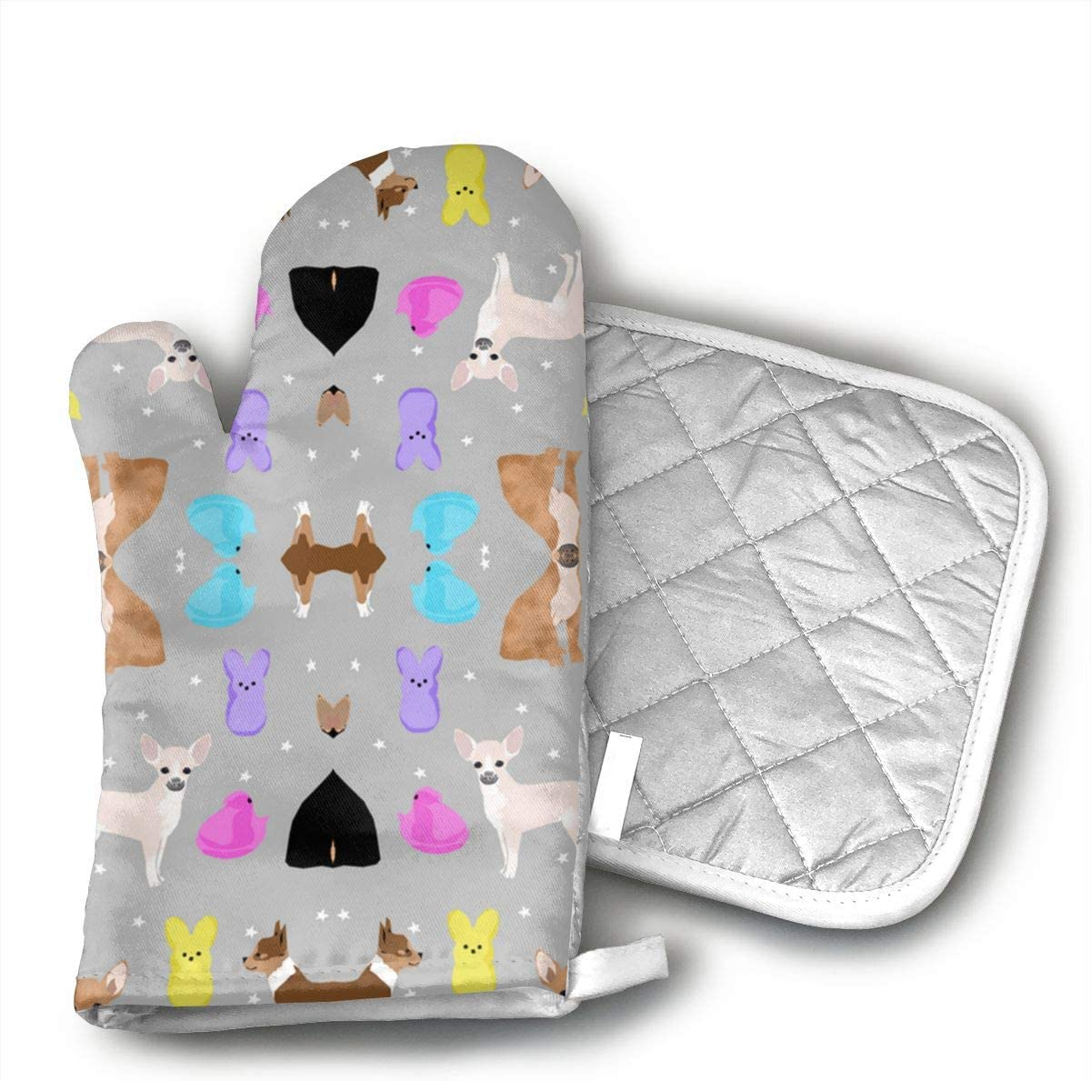 GDSJHVJNK Chihuahua Easter Spring Marshmallow Treats Dog BRE Hand Drawn Oven Glove Heat Resistant Cooking Glove, Include A Insulated Glove and A Insulation Pad.¡¤