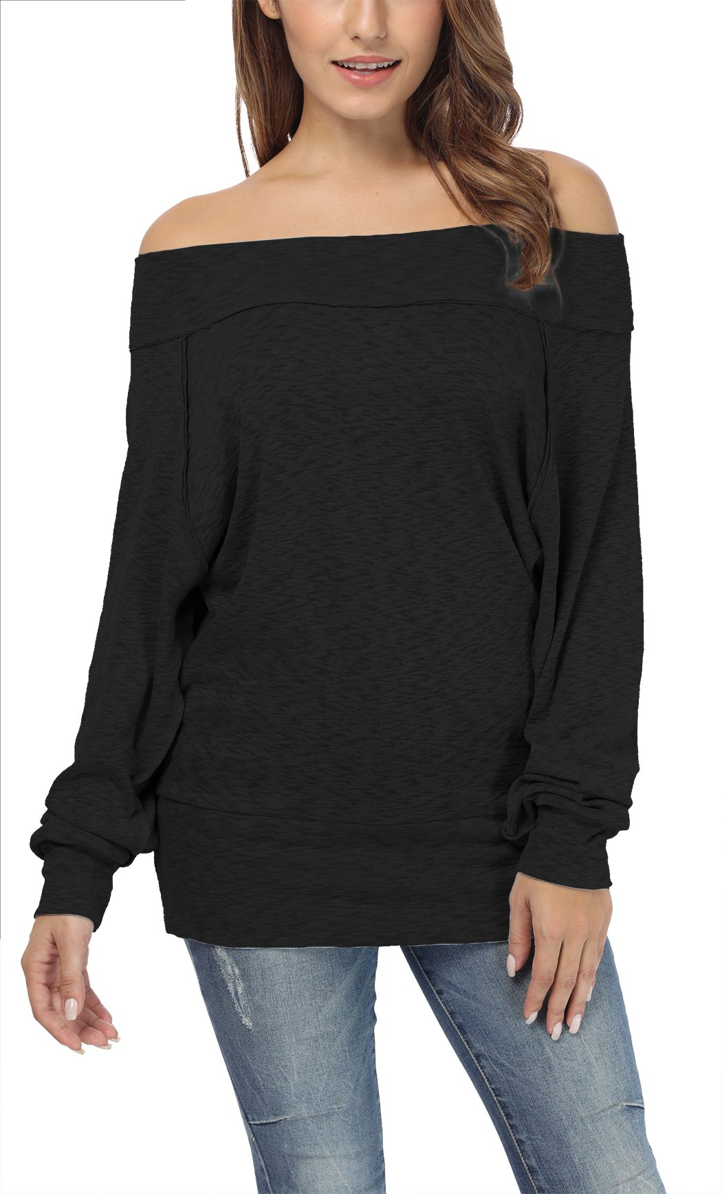 iGENJUN Women's Dolman Sleeve Off The Shoulder Sweater Shirt Tops,Black,M by iGENJUN (Image #3)