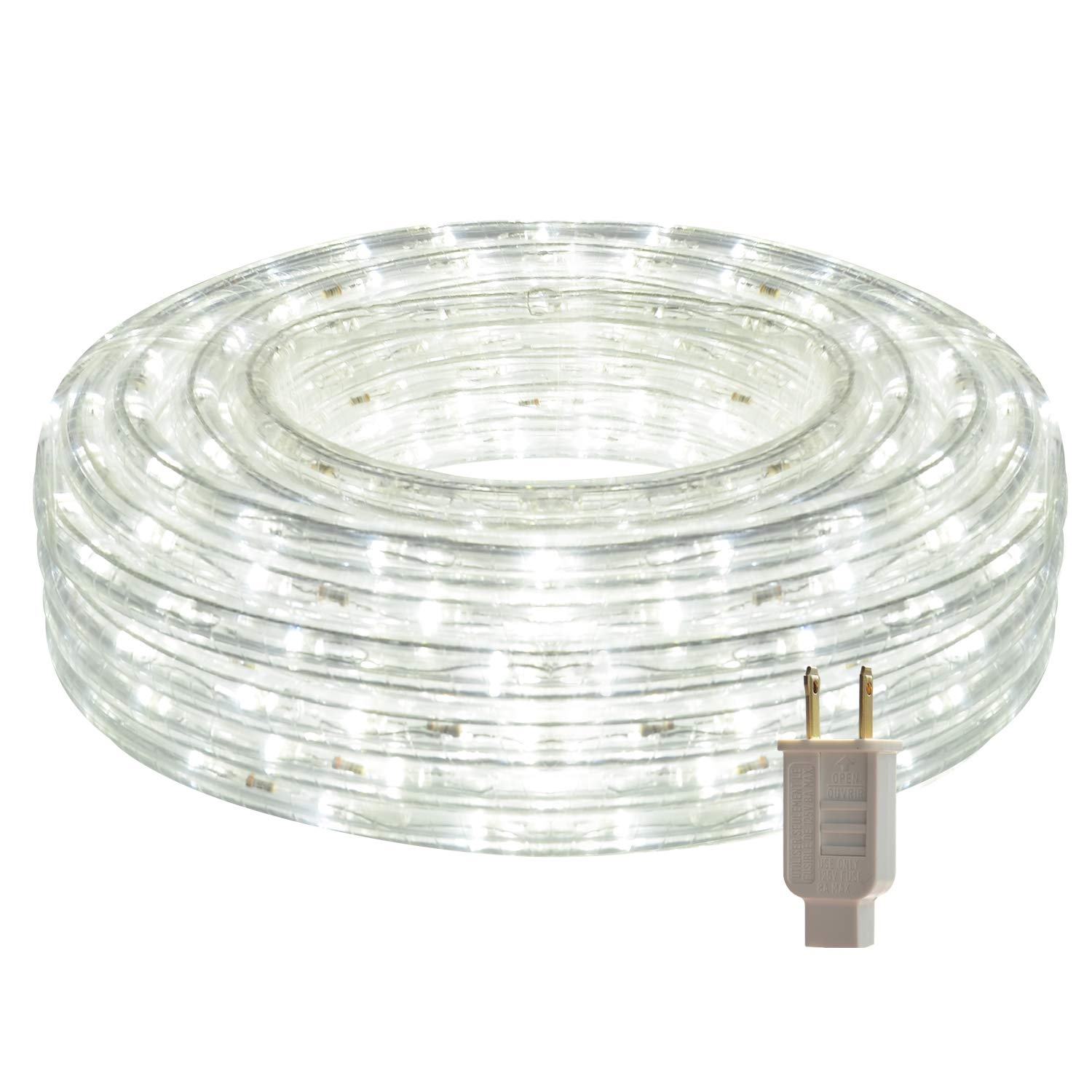 LED Rope Lights, 26.3ft Flat Flexible Light Strip, 6000K Daylight White, Water Resistant for Both Indoor/Outdoor Use, Inter-Connectable, UL Certified, Decorative Lighting for Any Location.