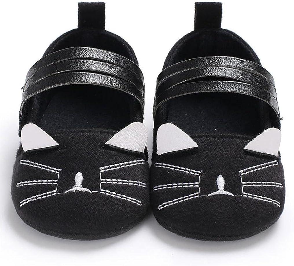 Jinjiu Newborn Baby Girl Soft Sole Mary Jane Anti-Slip Kitty Crib Shoes