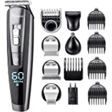 HATTEKER 5 In 1 Beard Trimmer Kit For Men Cordless Mustache Trimmer Hair Trimmer Groomer Kit Precision Trimmer Nose Hair Trimmer - Waterproof USB Rechargeable
