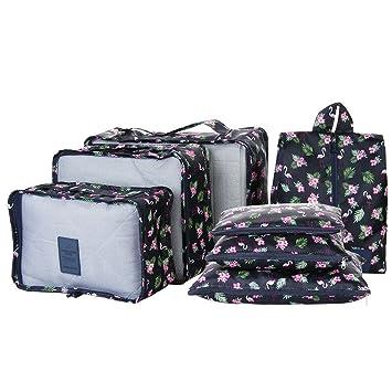 chaussures de séparation 2995d 15033 LUVODI Kit de 7 Organisateur de Valise Sacs Rangement pour Vetements  Packing Cubes Voyage 3 Cubes d'emballage de Voyage + 3 Pouches de  Compression + 1 ...