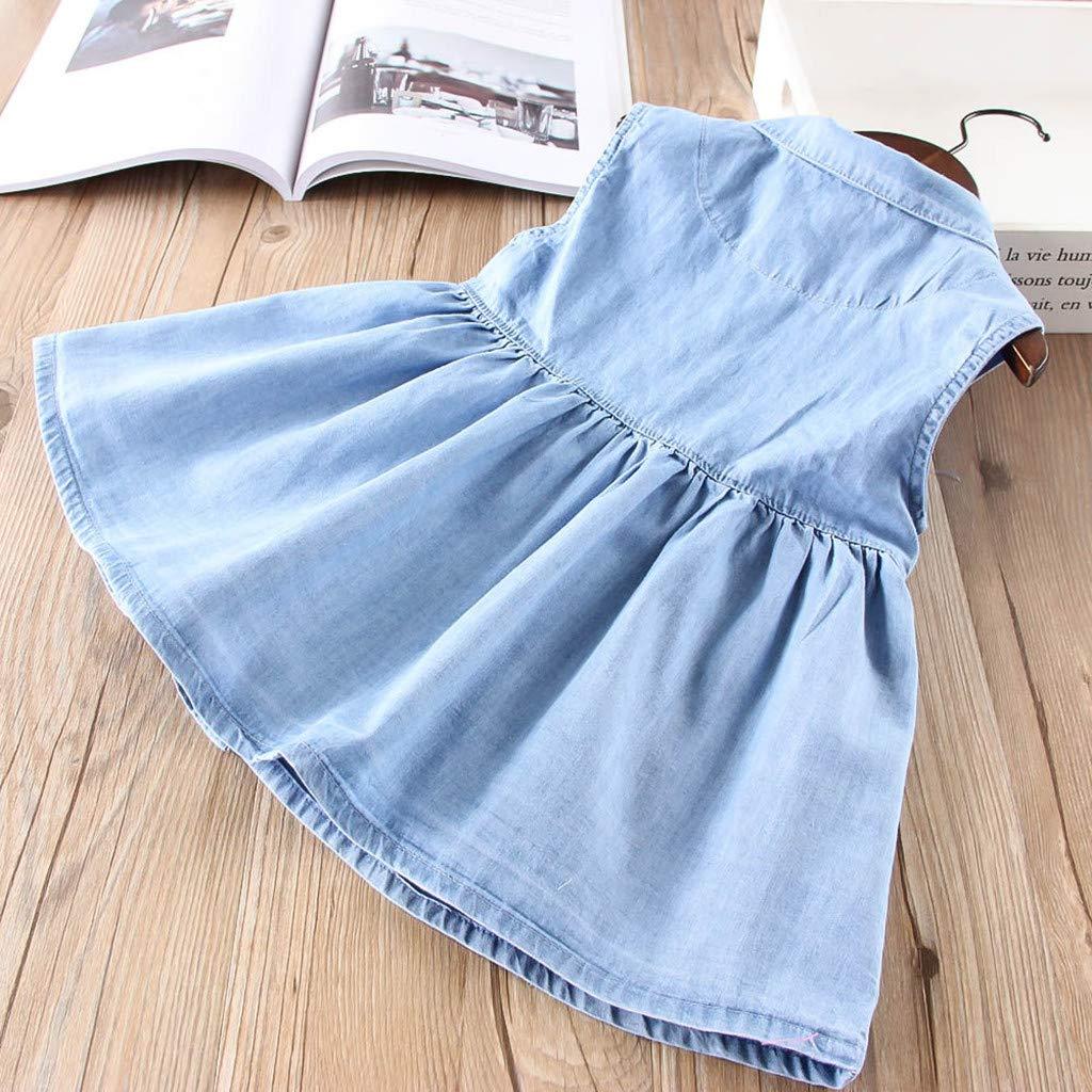 Teen Kids Toddler Baby Girls Dress Cartoon Cat Denim Little Princess Dresses Outfits Sleeveless Skirt 1-6 Years