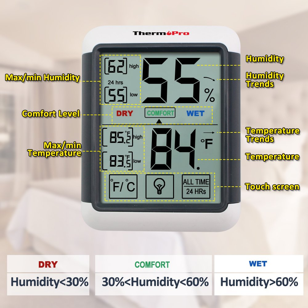 ThermoPro TP55 Digital Hygrometer Indoor Thermometer Humidity Gauge with Jumbo Touchscreen and Backlight Temperature Humidity Monitor by ThermoPro (Image #5)