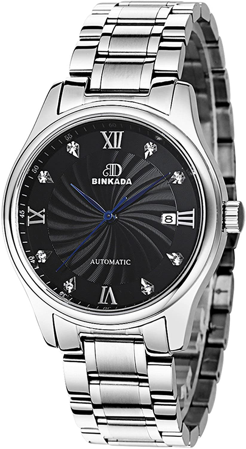 BINKADA Unique self-motion Stainless Stellバンドブラックダイヤルメンズ腕時計# 7001 N01 – 2 B01DZK89RW