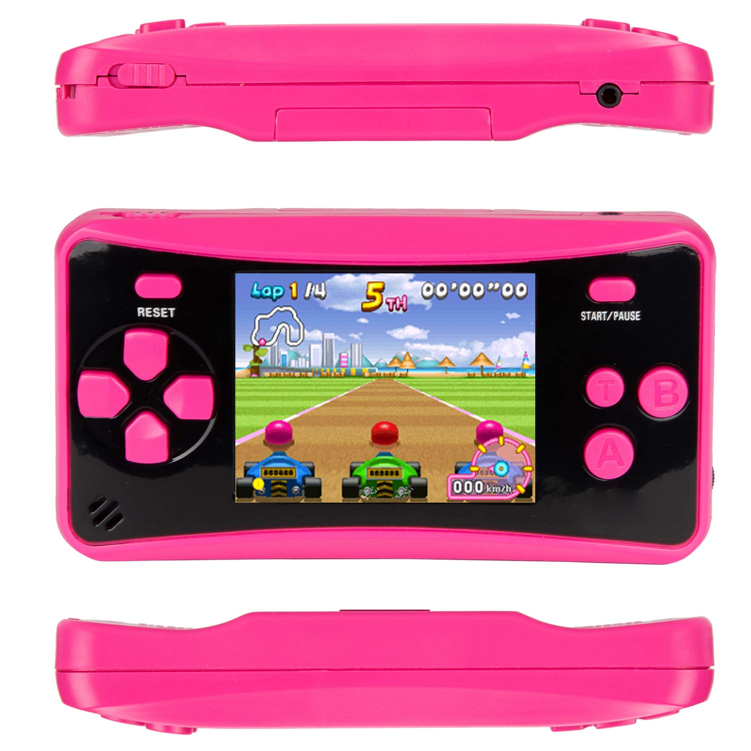 HigoKids Handheld Game Console for Kids Portable Retro Video Game Player Built-in 182 Classic Games 2.5 inches LCD Screen Family Recreation Arcade Gaming System Birthday Present for Children-Rose Red by HigoKids (Image #6)