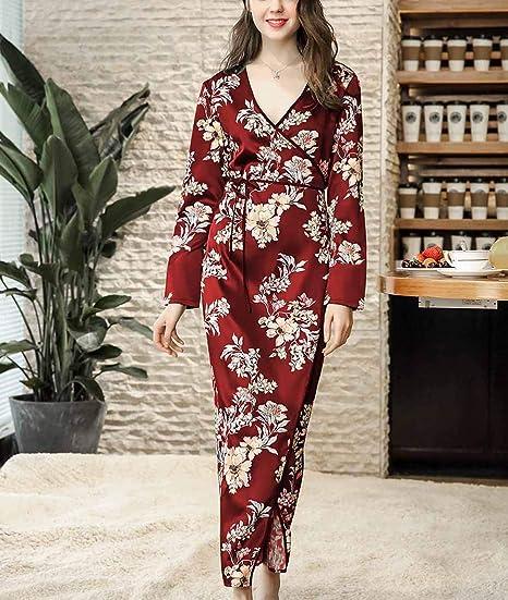 CX-Store Mujer Dama De Honor Ropa De Dormir Batas Largas Flores Estampadas Flores Mancha Sedosa Bata Kimono Bata: Amazon.es: Ropa y accesorios