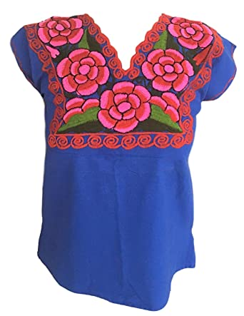 4359915bceb849 Floral Mexican Blouse - Embroidered - Authentic - Handmade - Cotton - Blue  (Small-