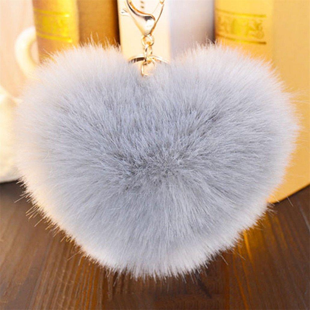 Amazon.com  Acamifashion Big Heart Shaped Soft Pom Pom Ball Keychain  Handbag Key Ring Women Gift - Gray  Beauty cac3566e23