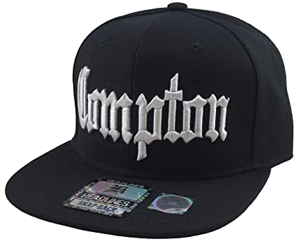 eaa3e8be94f63c Amazon.com: New Compton 3d Embroidered Flat Bill Snapback Baseball Cap Hat  Black: Sports & Outdoors