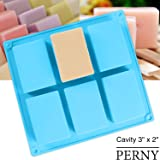 "PERNY 6-Cavity Rectangle Silicone Soap Mold, Premium Handmade Soap Making Molds ( 3"" x 2"" x 1"", 4 oz )"