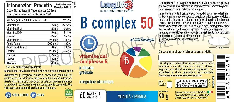 LONG LIFE B COMPLEX 50 60 TAV: Amazon.es: Salud y cuidado personal