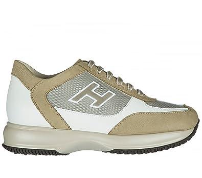 HOGAN HOMME HXM00N0Q102FJ6637M BEIGE/BLANC CUIR BASKETS UVA32kA31