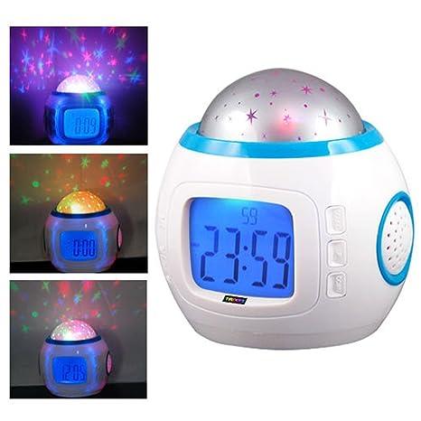Eglemtek® TM - Reloj despertador digital con proyección de estrellas, indicador de