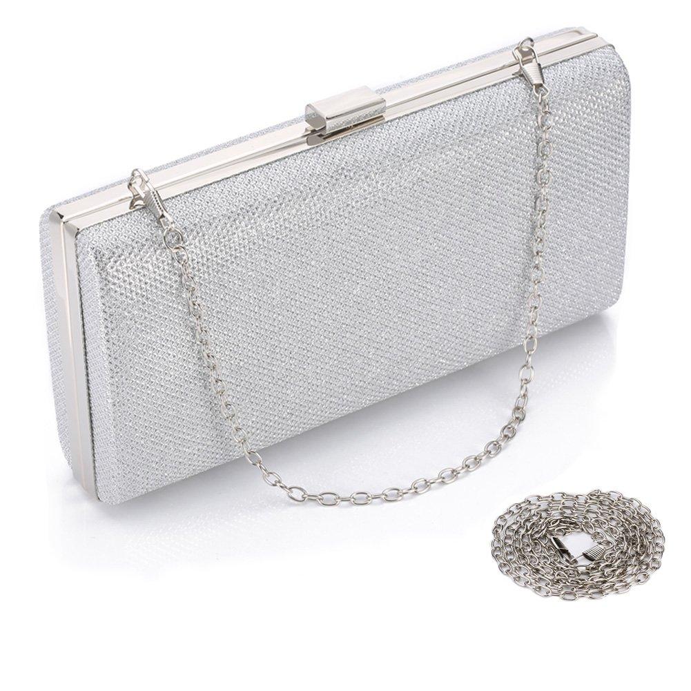 Women Evening Handbag Bridal Solid Clutch Bag for Wedding/Party/Ball/Banquet (Silver)