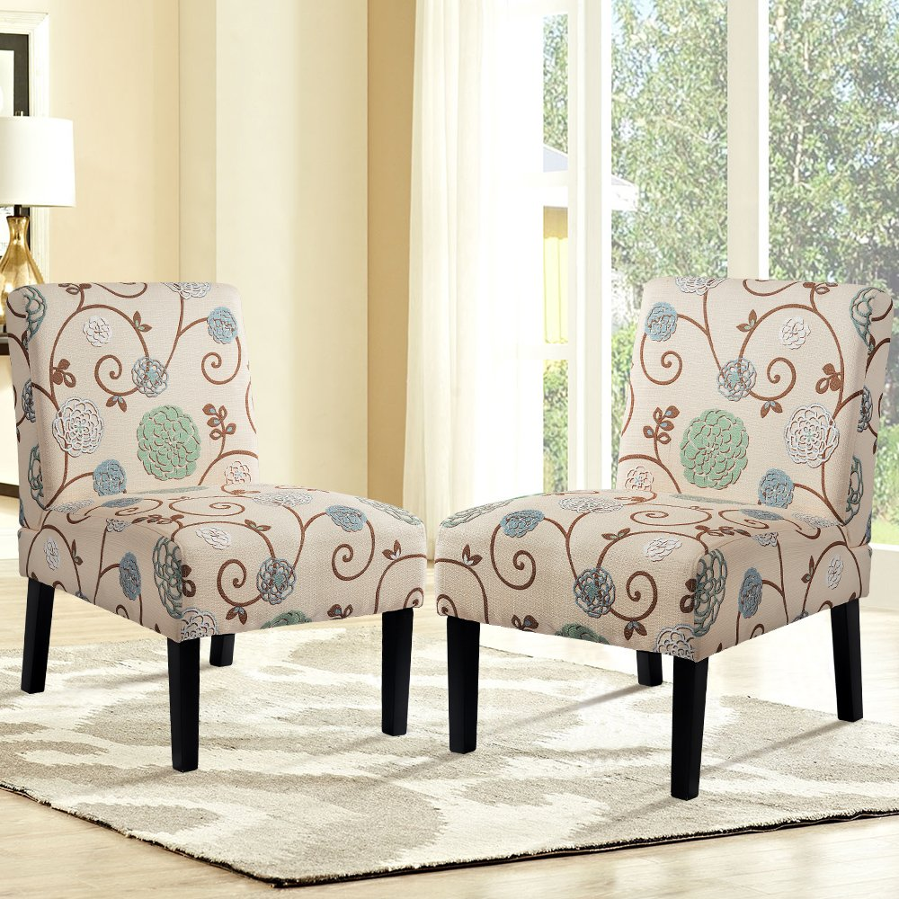 Harper&Bright Designs Upholstered Accent Chair Armless Living Room Chair Set of 2 (Beige/Floral) by Harper & Bright Designs