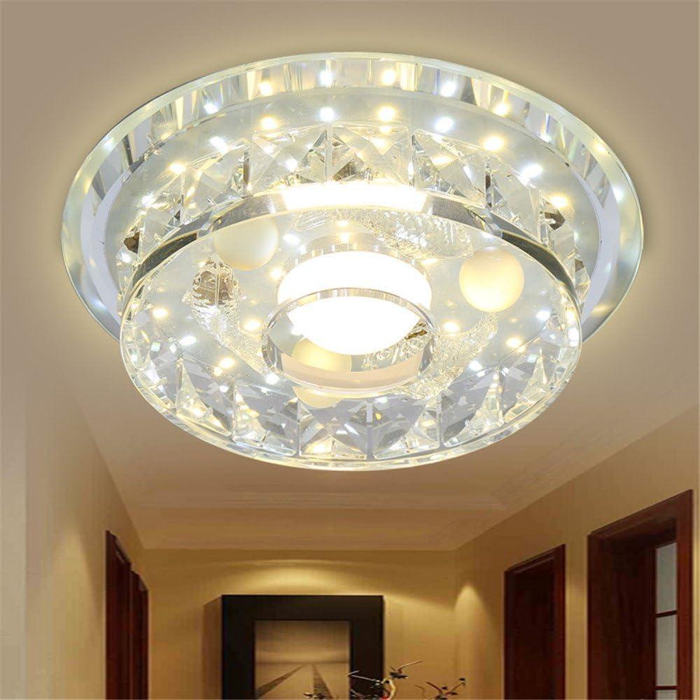 BRIGHTLLT Arcad Deng cristal pasillo pasillo sala de pasillo pasillo balcón ventana de la bahía lámpara de techo LED, 180mm