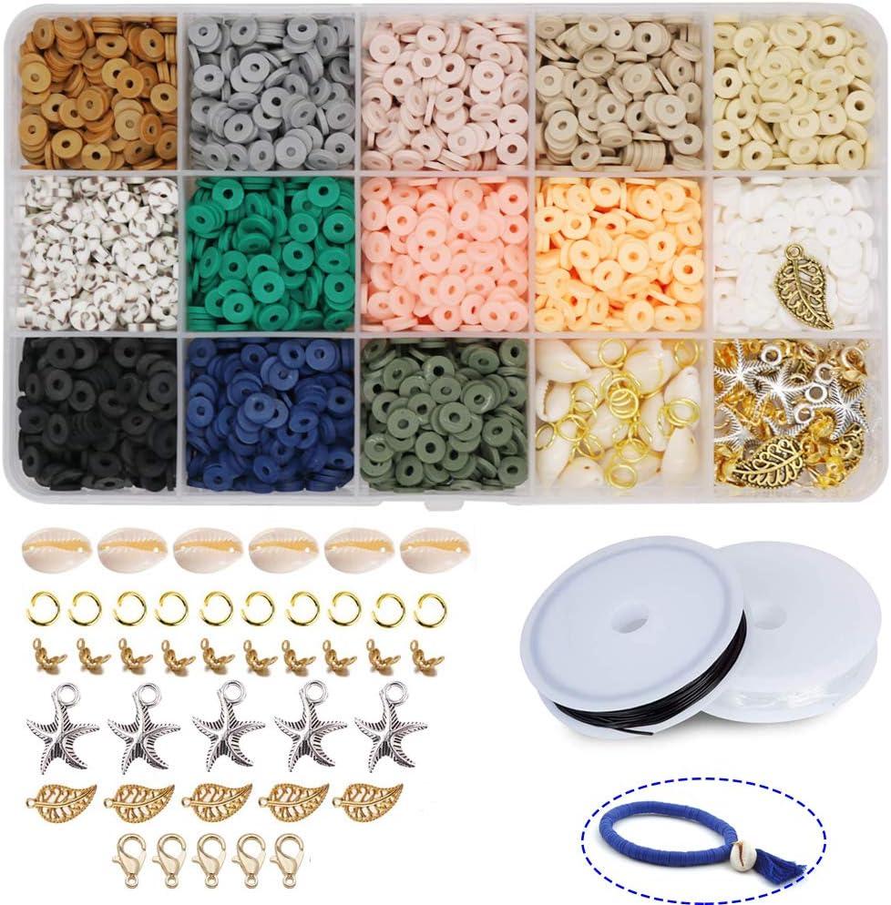 Cuentas planas de arcilla polim/érica hechas a mano Potosala 2600 unidades cuentas espaciadoras para pulseras collares y joyas hechas a mano pendientes 6 mm