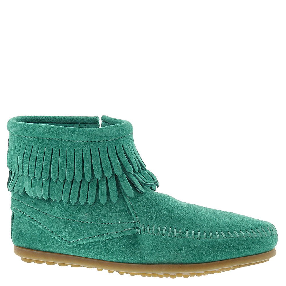 Minnetonka Double Fringe Side Zip Girls' Toddler-Youth Slip On 11 M US Little Kid Turquoise-Suede