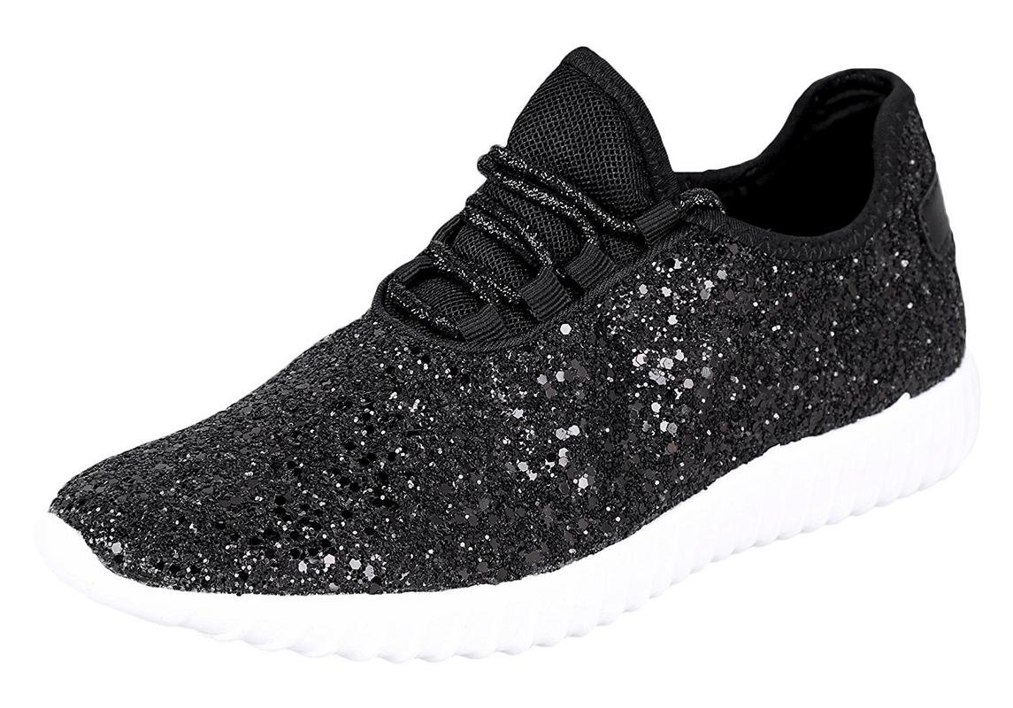 Forever Link Women's REMY-18 Glitter Fashion Sneakers Black 5 B(M) US