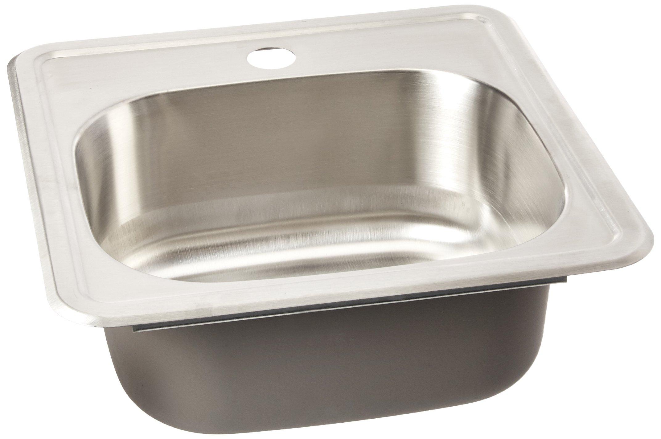 Wells Sinkware CMT1515-6 22 gauge Single Bowl Top-Mount Kitchen Sink, Stainless Steel