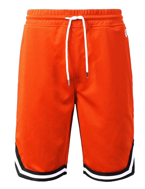 URBANCREWS SHORTS メンズ B07C84ZT9D Large Ambs052_orange Ambs052_orange Large